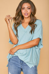 Buy Dot V Neckline Short Sleeve Knit Top Mint online at Southern Fashion Boutique Bliss
