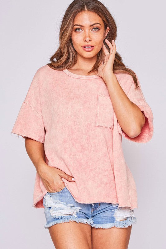 Mineral Washed Knit Loose Fit Top Peach