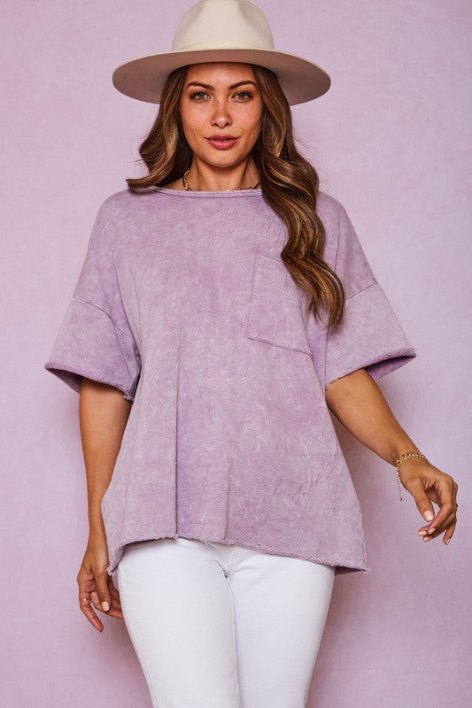 Mineral Washed Knit Loose Fit Top Lavender