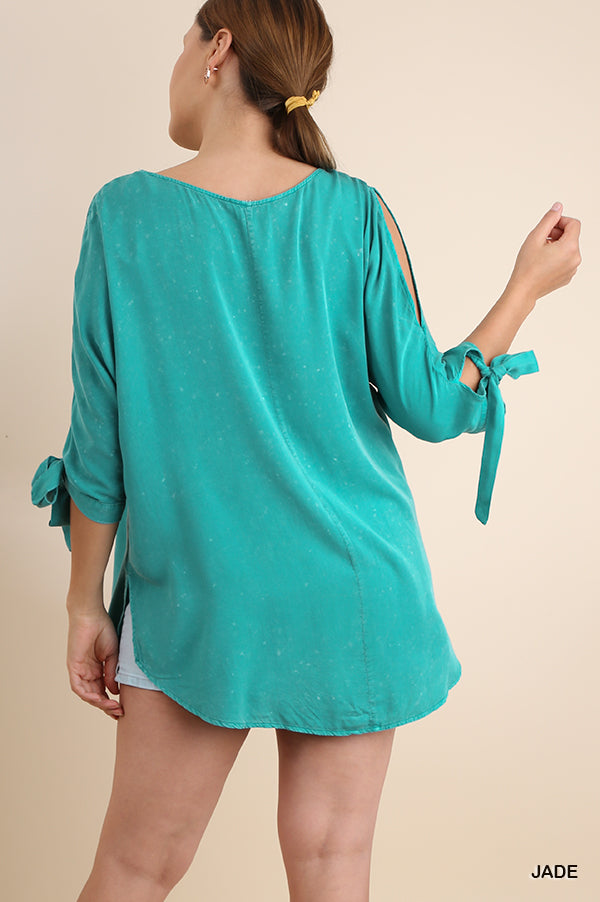 Buy Washed Open Shoulder Top Jade online at Southern Fashion Boutique Bliss