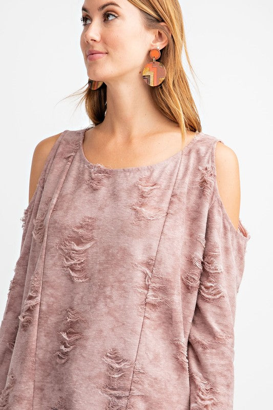 Washed Distressed Cold Shoulder Top Mauve