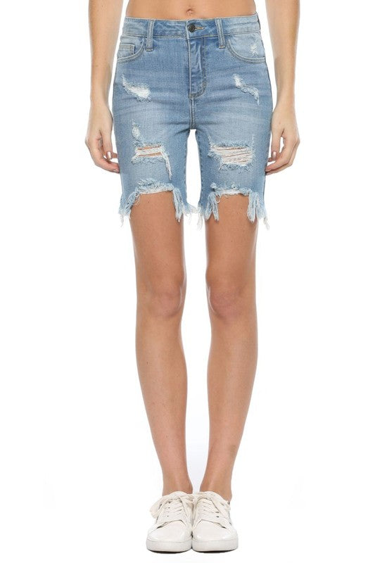High Rise Uneven Fray Bermuda Shorts Light Denim