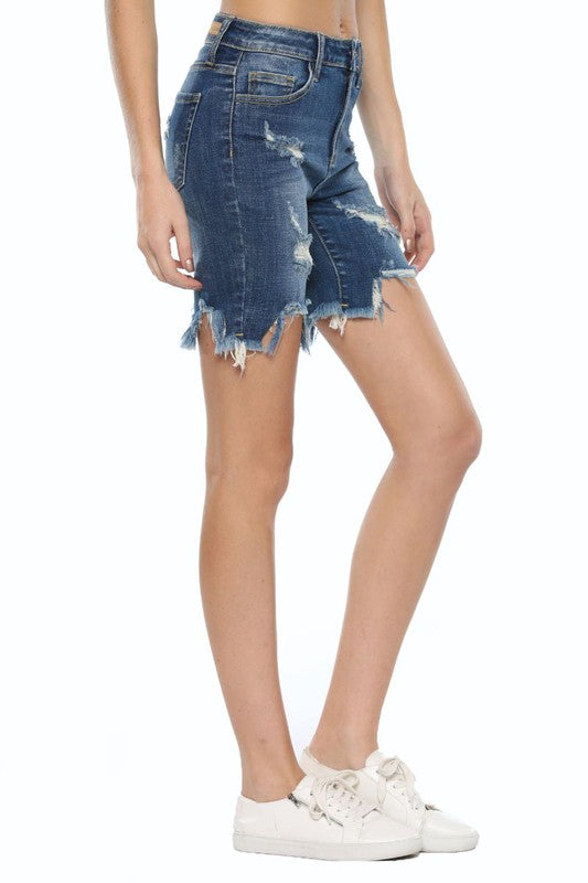 High Rise Uneven Fray Bermuda Shorts Dark Denim