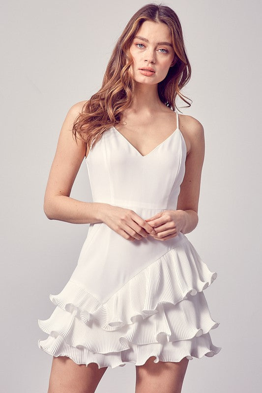 Pleated Detail Wire Dress White