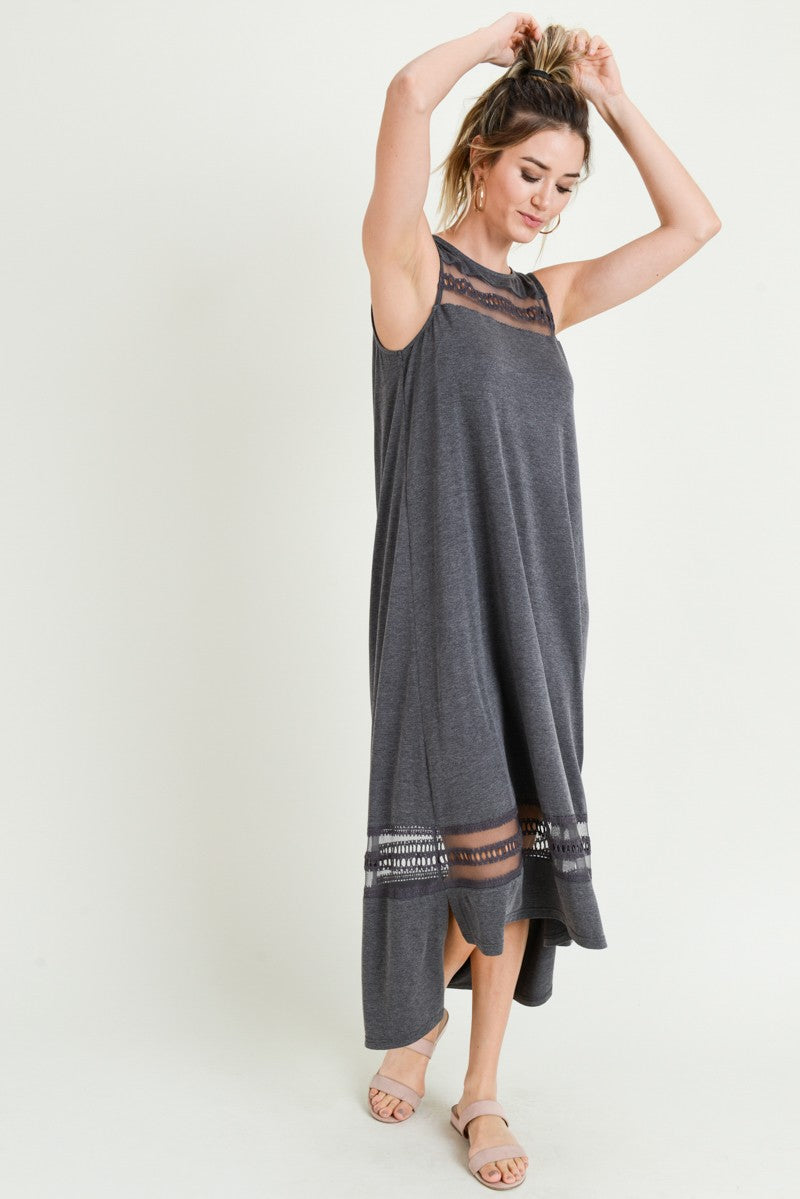 Buy Below Knee Dress w/Embroidery Mesh Inset Charcoal online at Southern Fashion Boutique Bliss