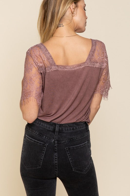 Buy Raglan Lace Scallop Sleeve Top Wine online at Southern Fashion Boutique Bliss