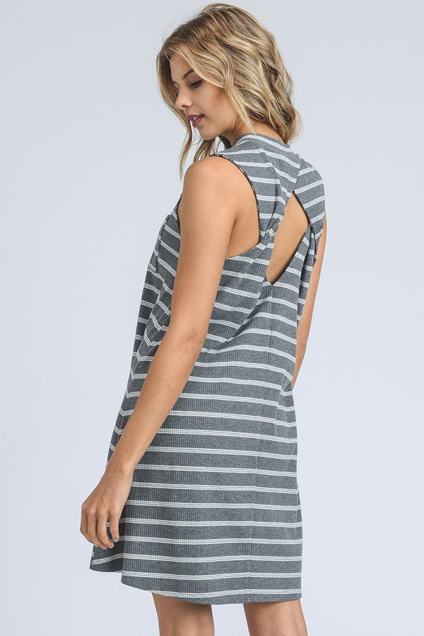 Buy Twist Back Knit Pocket Shift Dress Grey online at Southern Fashion Boutique Bliss