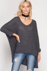 Buy Hi-Lo Sweater Top 3/4 Sleeves Folded Cuffs Charcoal online at Southern Fashion Boutique Bliss
