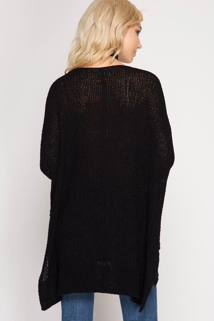 Buy Hi-Lo Sweater Top 3/4 Sleeves Folded Cuffs Black online at Southern Fashion Boutique Bliss