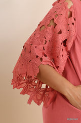 Buy Floral Lace 3/4 Bell Sleeve Pocket Dress Red Clay online at Southern Fashion Boutique Bliss