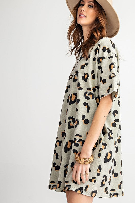 Buy Washed Leopard Tunic Tee Dress Faded Sage online at Southern Fashion Boutique Bliss