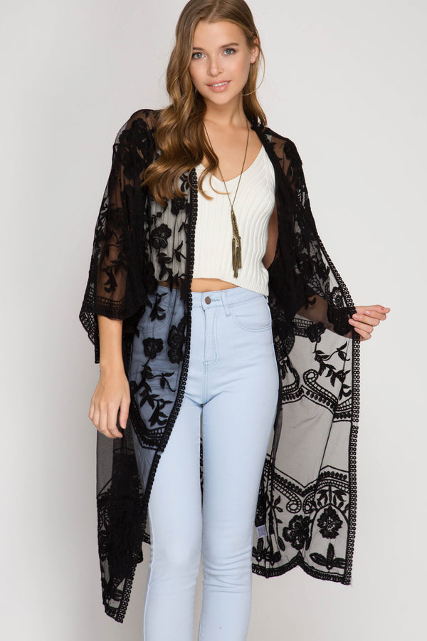 Half Sleeve Crochet Lace Midi Duster Kimono Black - Athens Georgia Women's Fashion Boutique