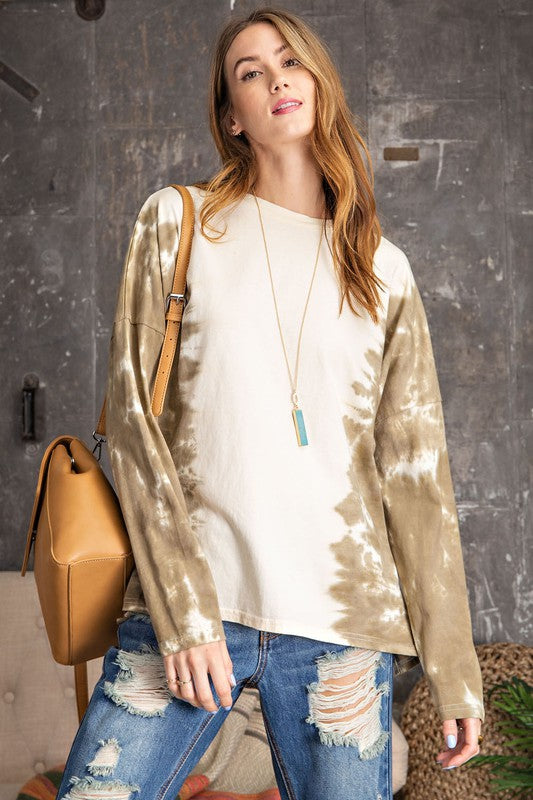 Buy Tie Dye Boxy Pullover Top Olive online at Southern Fashion Boutique Bliss