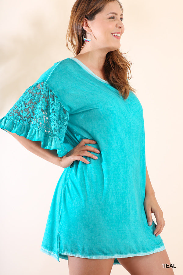 Buy Mineral Washed High Low Tee Dress Teal online at Southern Fashion Boutique Bliss