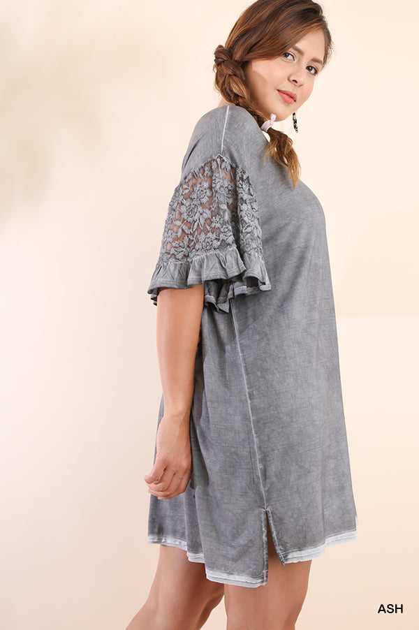 Buy Mineral Washed High Low Tee Dress Ash online at Southern Fashion Boutique Bliss