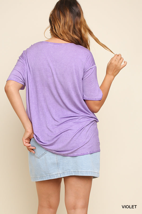 Buy Washed Scoop Neck Top Violet online at Southern Fashion Boutique Bliss