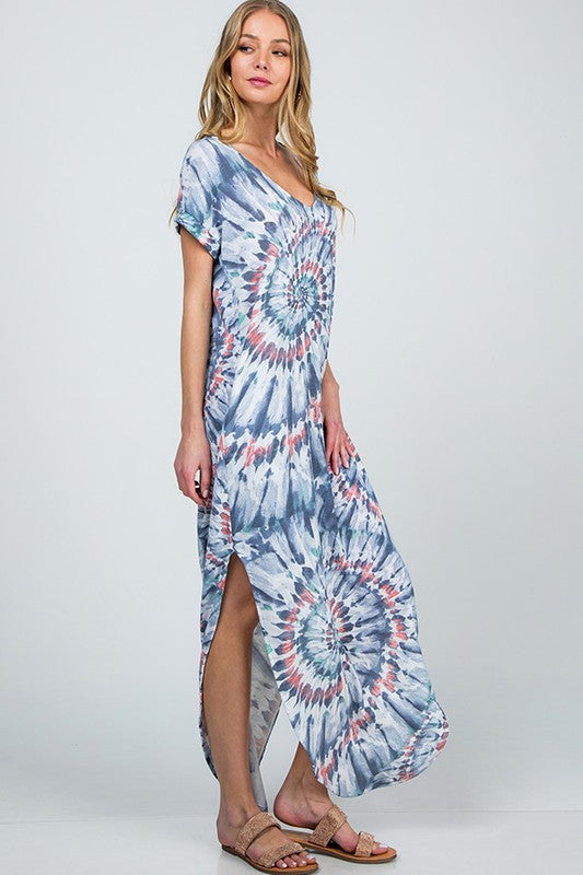 Buy Tie-Dye Round Bottom Crop Maxi Dress Navy online at Southern Fashion Boutique Bliss