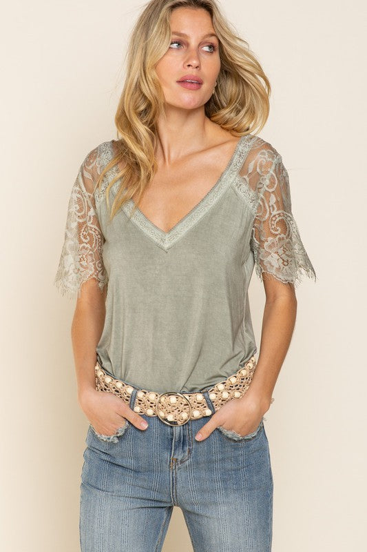 Raglan Lace Scallop Sleeve Top Dried Herb