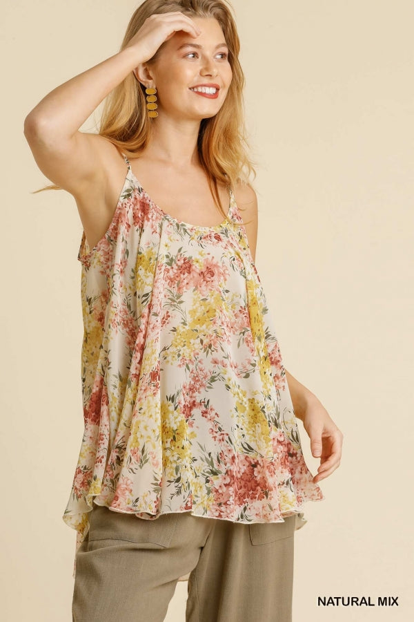 Buy Spaghetti Strap Floral Print Top Natural online at Southern Fashion Boutique Bliss