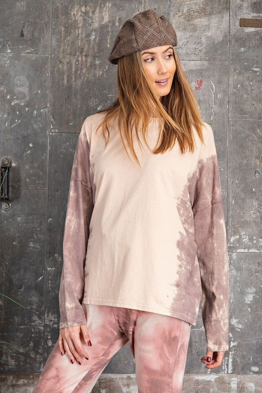 Tie Dye Boxy Pullover Top Plum