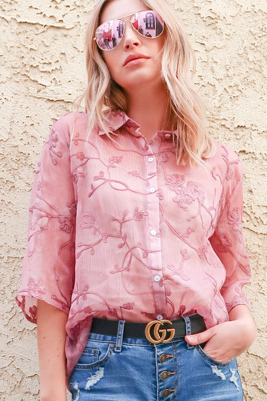 Embroidered Organza Shirt Top Mauve
