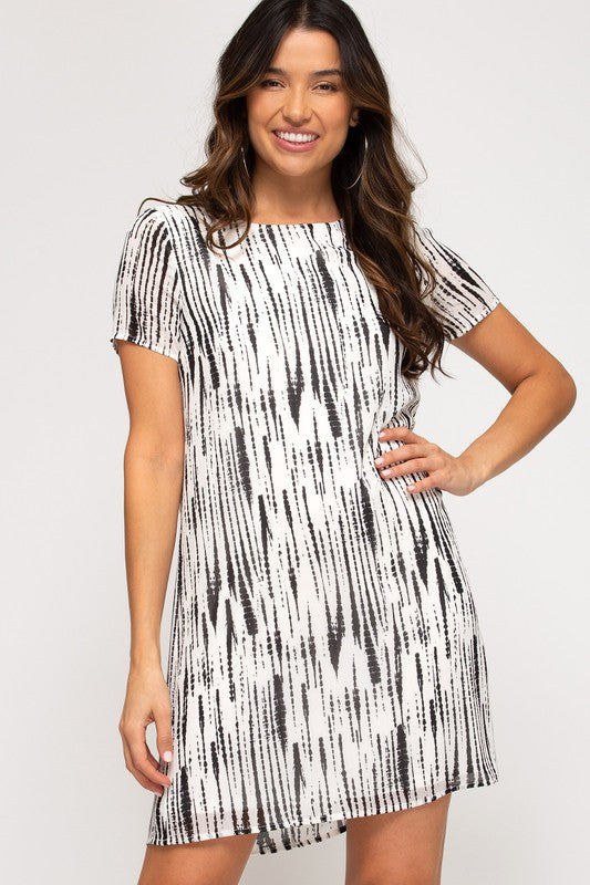 Woven Printed Dress with Lining Black