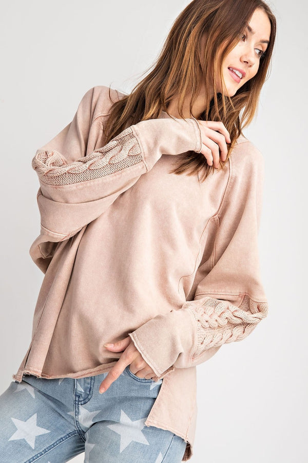 Long Sleeve Knitted Sweater Mix Top Coral