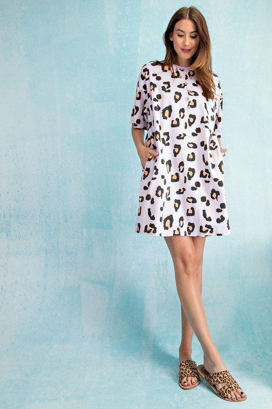 Washed Leopard Tunic Tee Dress Vintage Rose