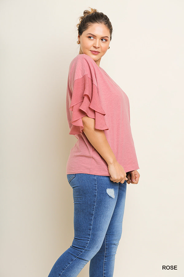 Buy Layered Ruffle Sleeve Top Rose online at Southern Fashion Boutique Bliss