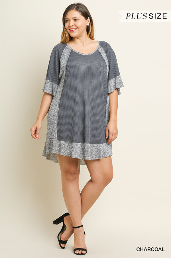Buy Round Neck Waffle Knit Dress Charcoal online at Southern Fashion Boutique Bliss
