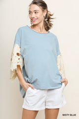 Buy Floral Applique Bell Sleeve Top Misty Blue online at Southern Fashion Boutique Bliss