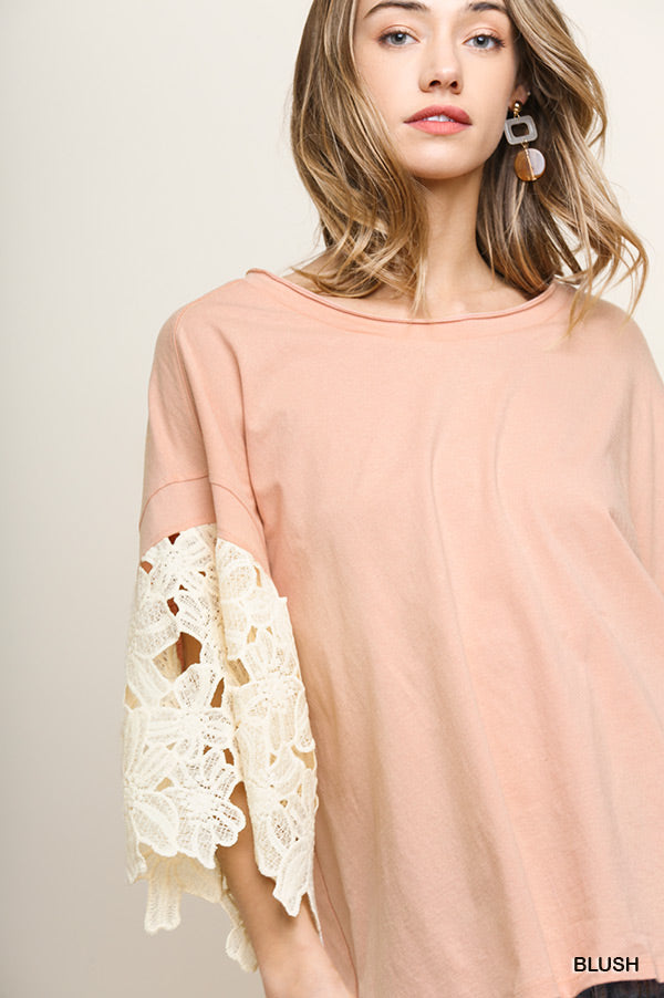 Buy Floral Applique Bell Sleeve Top Blush online at Southern Fashion Boutique Bliss