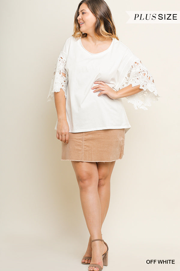 Buy Floral Applique Bell Sleeve Top White online at Southern Fashion Boutique Bliss