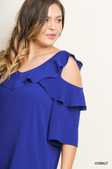 Buy Solid Open Shoulder Ruffle V-Neck Top Cobalt online at Southern Fashion Boutique Bliss