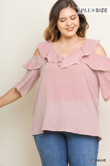 Buy Solid Open Shoulder Ruffle V-Neck Top Mauve online at Southern Fashion Boutique Bliss
