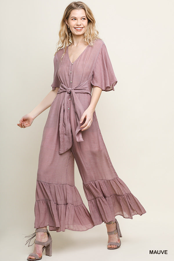 Buy Ruffled Half Sleeve Button Up Jumpsuit Mauve online at Southern Fashion Boutique Bliss
