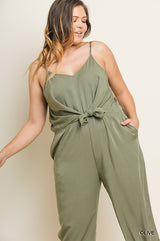 Buy Spaghetti Strap V-Neck Jogger Pant Jumpsuit Olive online at Southern Fashion Boutique Bliss