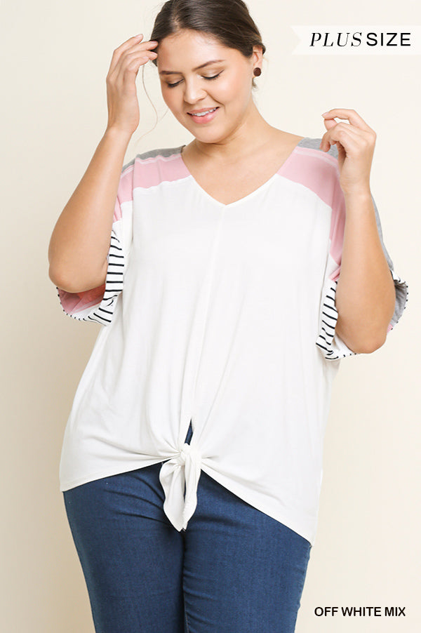 Buy Striped Color Block V-Neck Top Off White online at Southern Fashion Boutique Bliss