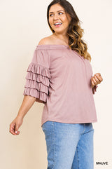 Buy Layered Ruffle Sleeve Off Shoulder Top Mauve online at Southern Fashion Boutique Bliss