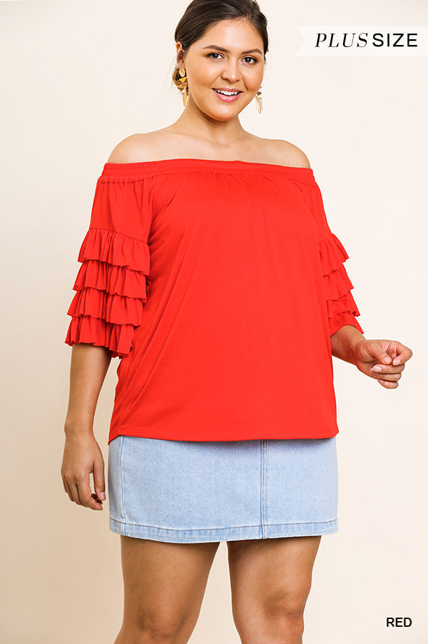 Buy Layered Ruffle Sleeve Off Shoulder Top Red online at Southern Fashion Boutique Bliss