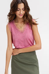 Buy Two Tone Jersey V-Neck Sleeveless Top Berry online at Southern Fashion Boutique Bliss