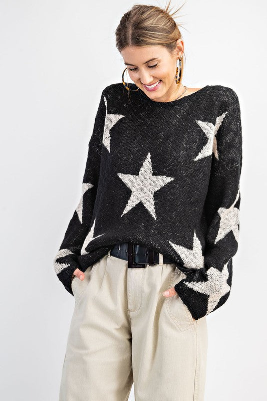 Buy Star Patterned Knitted Sweater Black online at Southern Fashion Boutique Bliss