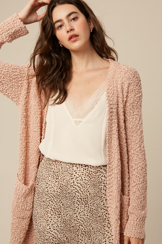 Buy Broccato Popcorn Open Knit Sweater Cardigans Blush online at Southern Fashion Boutique Bliss