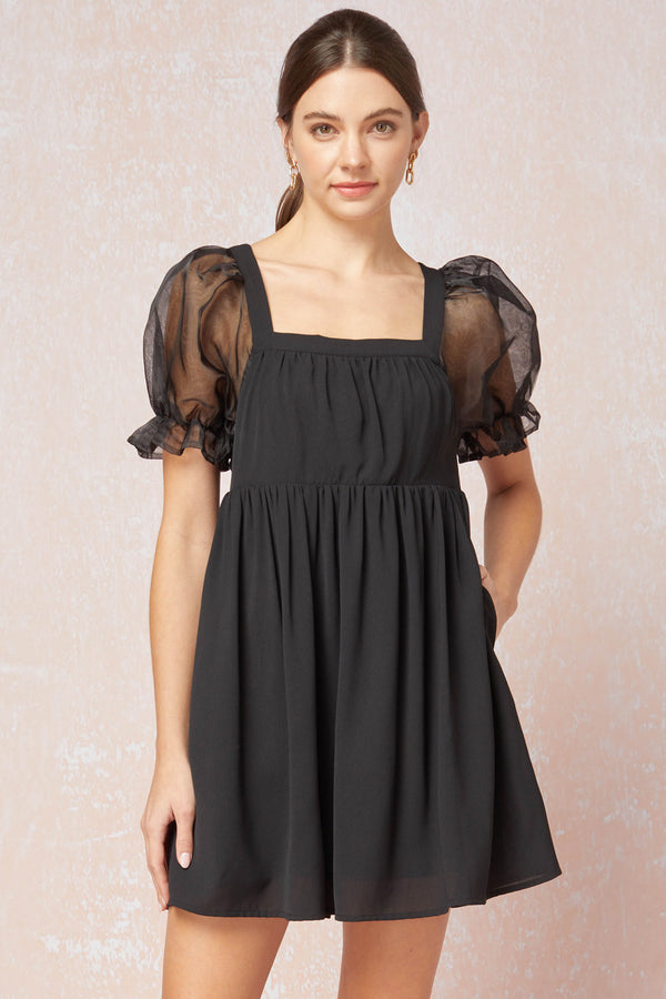 Square Neck Babydoll Dress Black