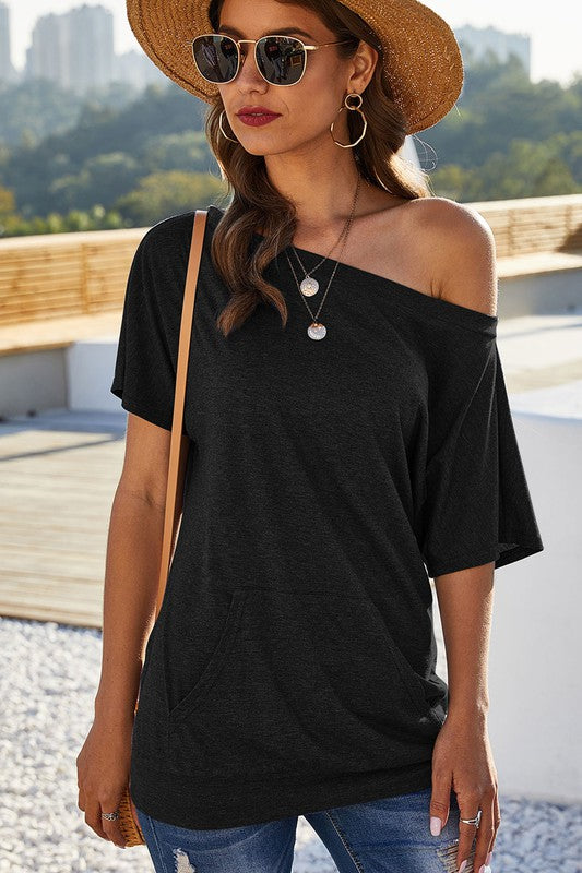 Buy One Shoulder Short Sleeve Tunic Top Black online at Southern Fashion Boutique Bliss