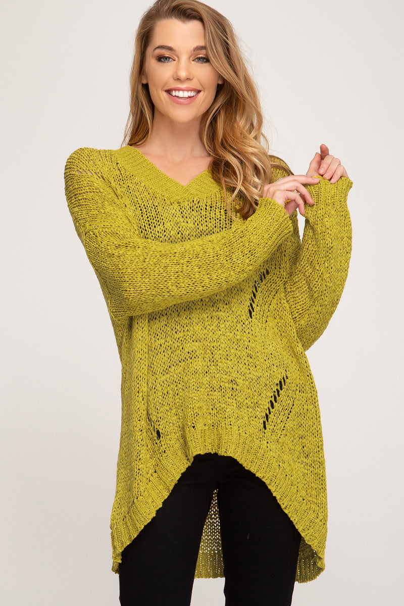 Long Sleeve Hi-Low Knit Sweater Top Mustard - Athens Georgia Women's Fashion Boutique