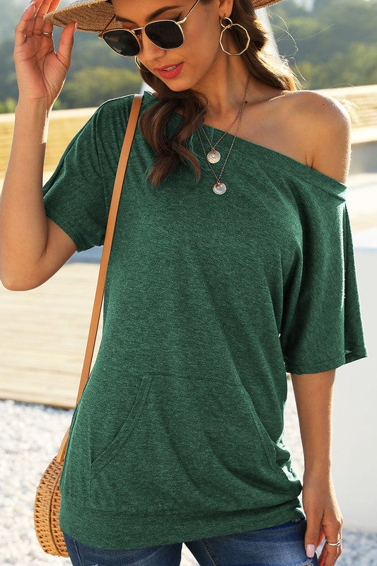 One Shoulder Short Sleeve Tunic Top Green