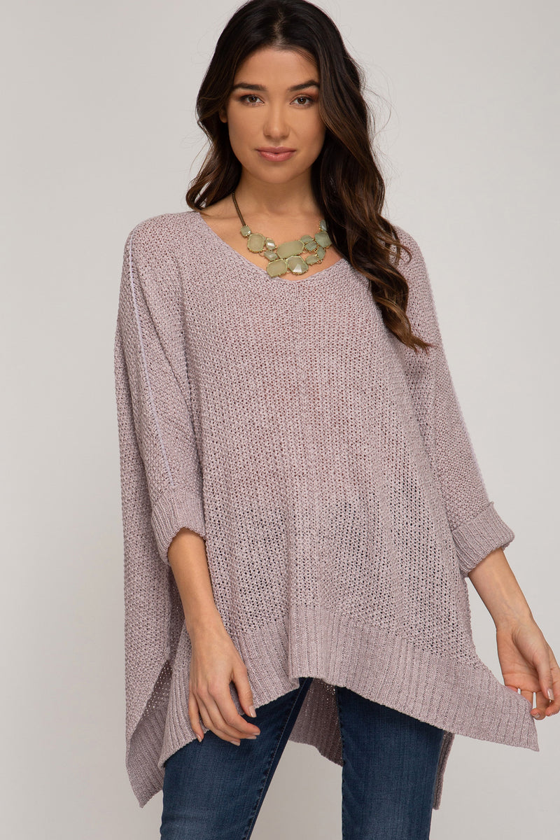 Buy Hi-Lo Sweater Top 3/4 Sleeves Folded Cuffs Grey online at Southern Fashion Boutique Bliss