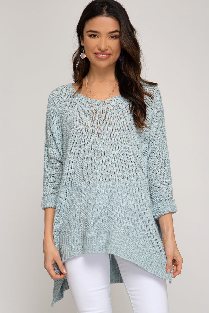 Buy Hi-Lo Sweater Top 3/4 Sleeves Folded Cuffs Seafoam online at Southern Fashion Boutique Bliss