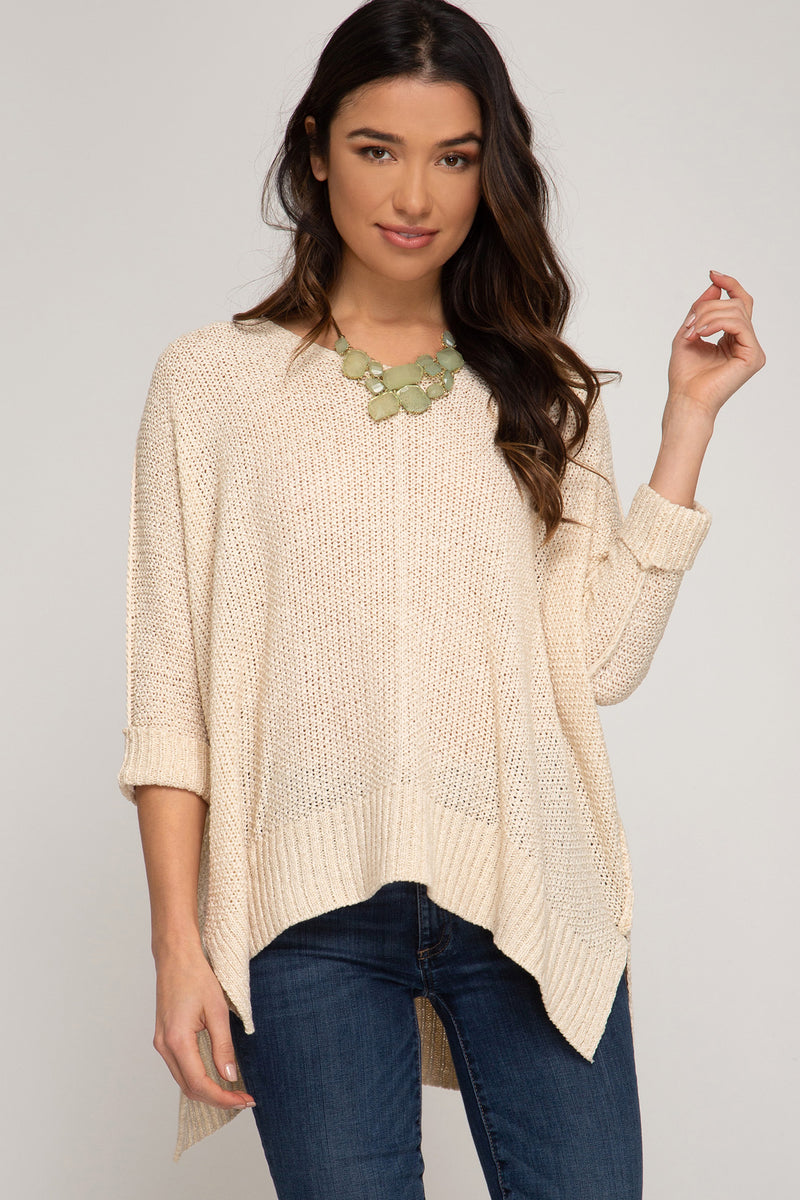 Buy Natural Hi-Lo Sweater Top 3/4 Sleeves Folded Cuffs online at Southern Fashion Boutique Bliss